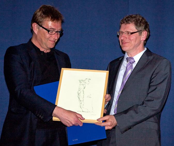 Prof. Johannes Schilling (l.) und Heinz Brandenburg, Hauptabteilungsleiter Betrieb Klärwerke und Netze der Stadtentwässerungsbetriebe Köln