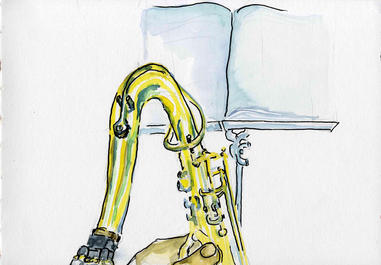 """Aquarell mit dem Titel """"Saxophon""""."""