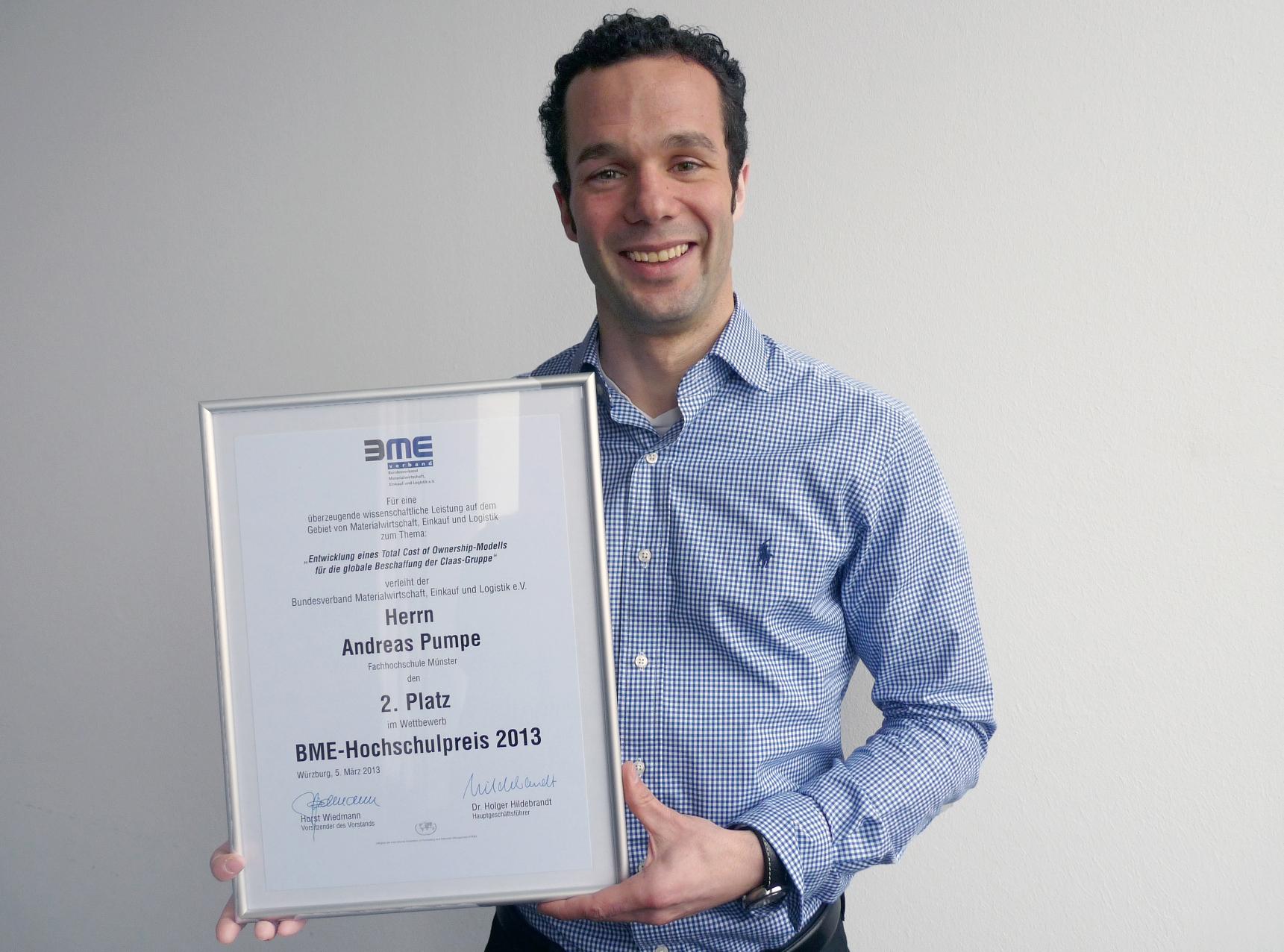 Mit seiner Abschlussarbeit im Masterstudiengang Logistik erkämpfte sich Andreas Pumpe beim BME-Hochschulwettbewerb den 2. Platz. (Foto: FH Münster/Pressestelle)