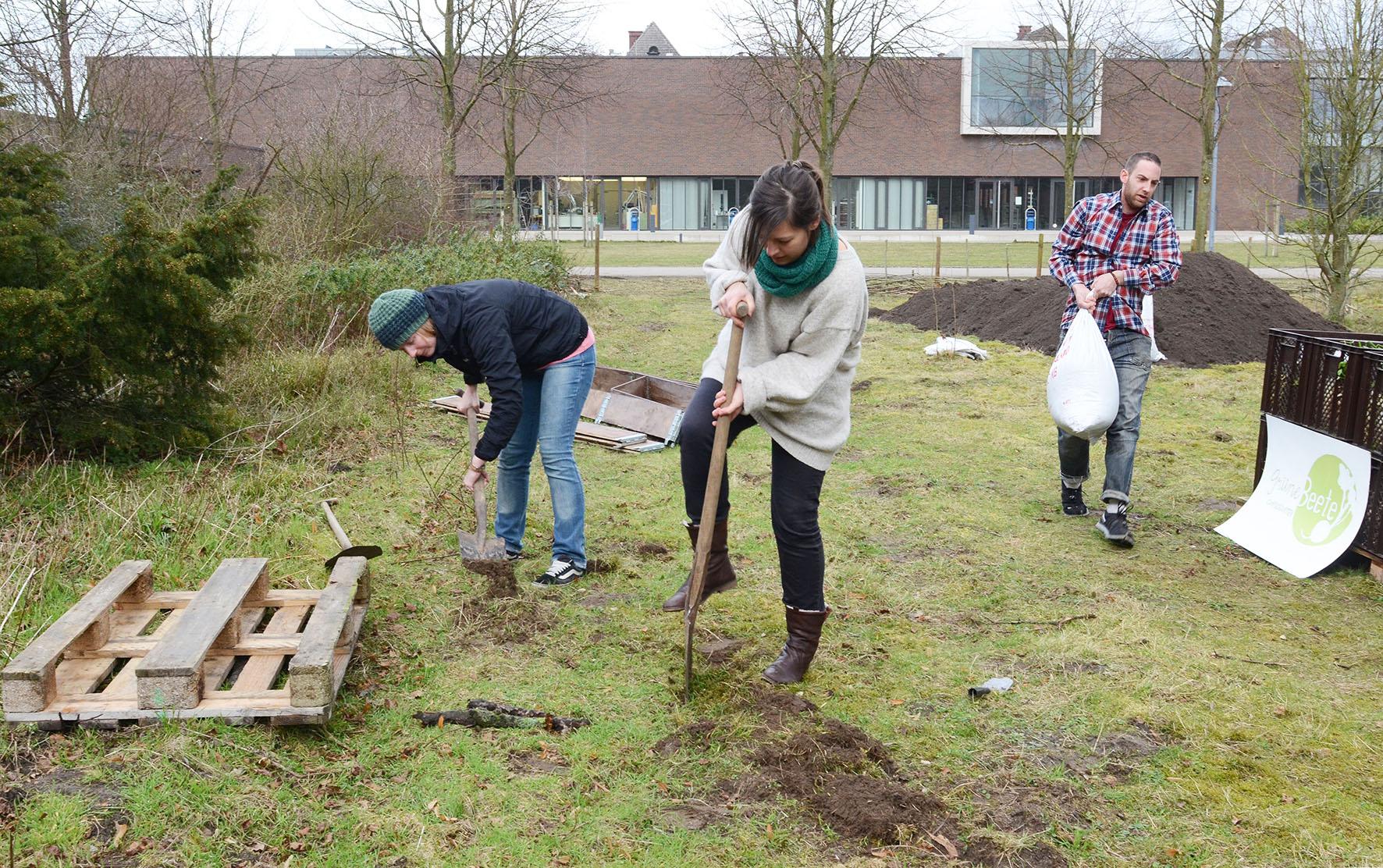 Studierende bei der Gartenarbeit