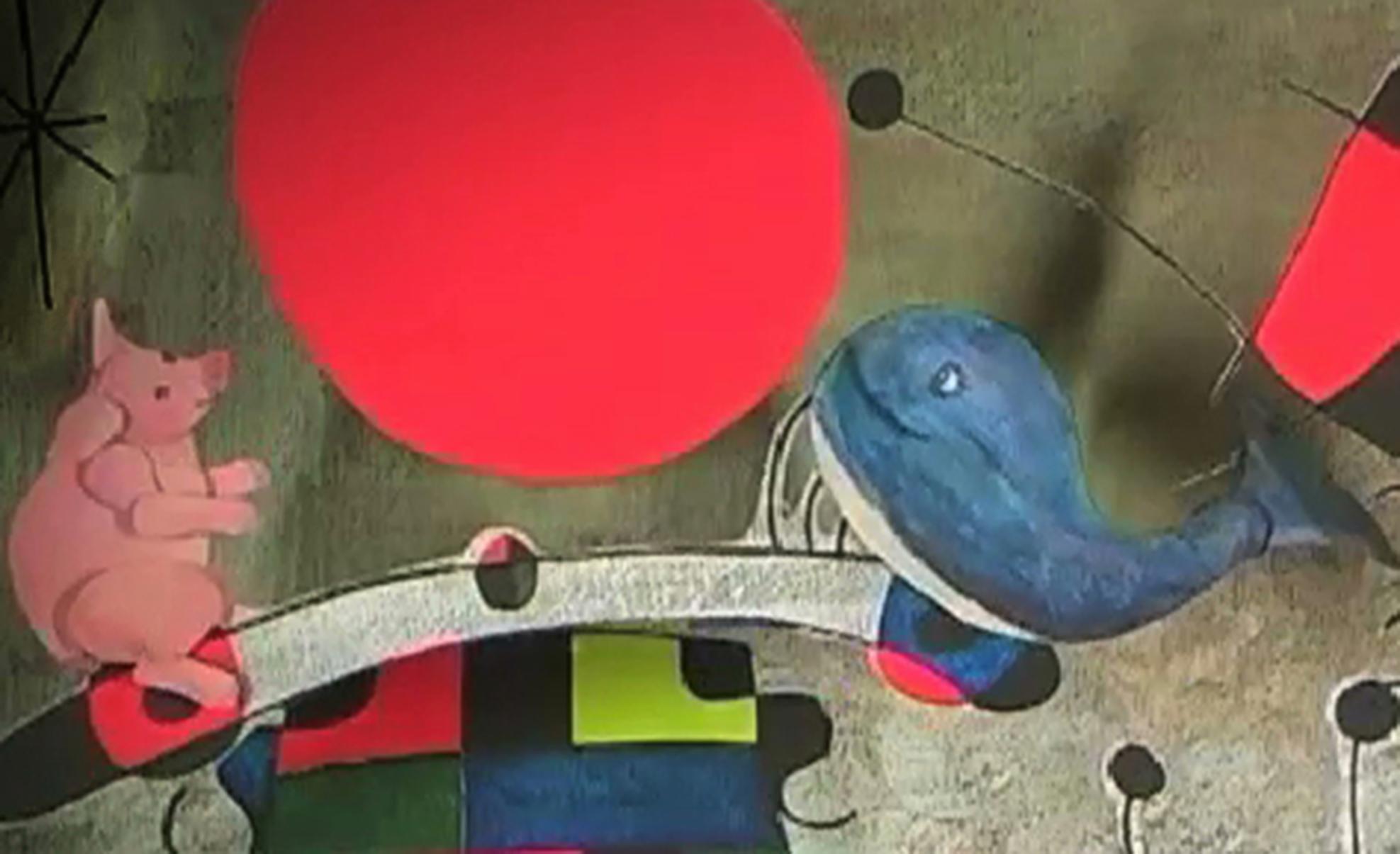 Schwein und ein Wal, montiert in ein Werk von Joan Miro.