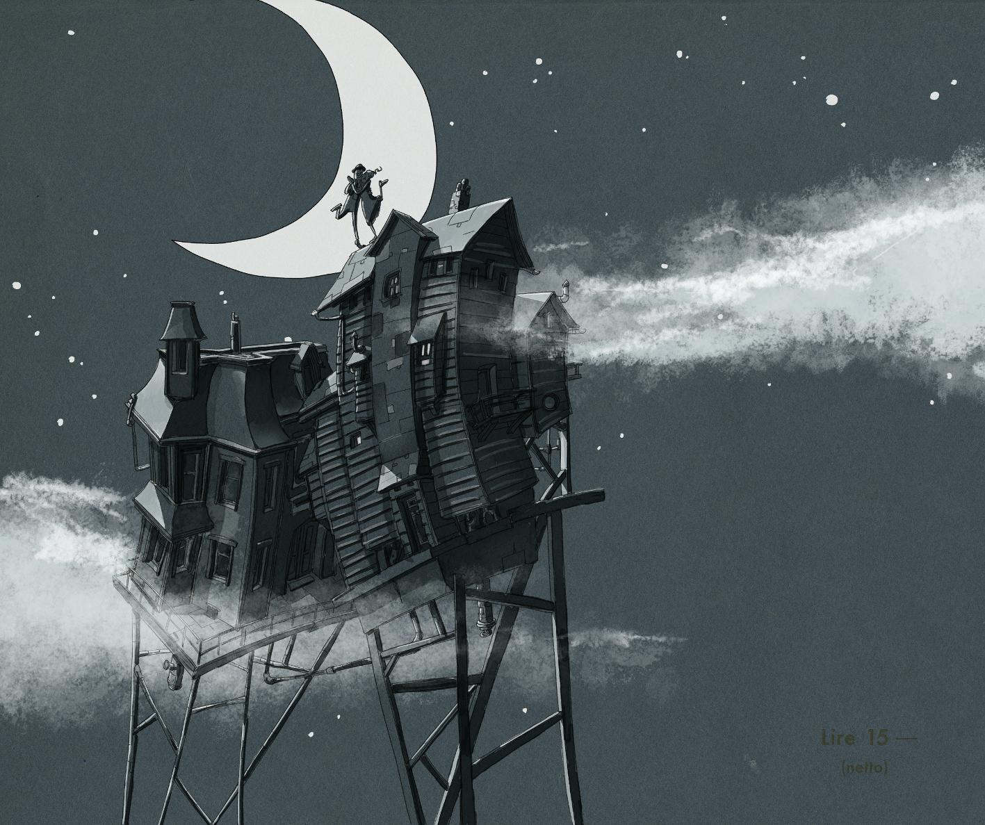 Illustration: Haus in den Wolken