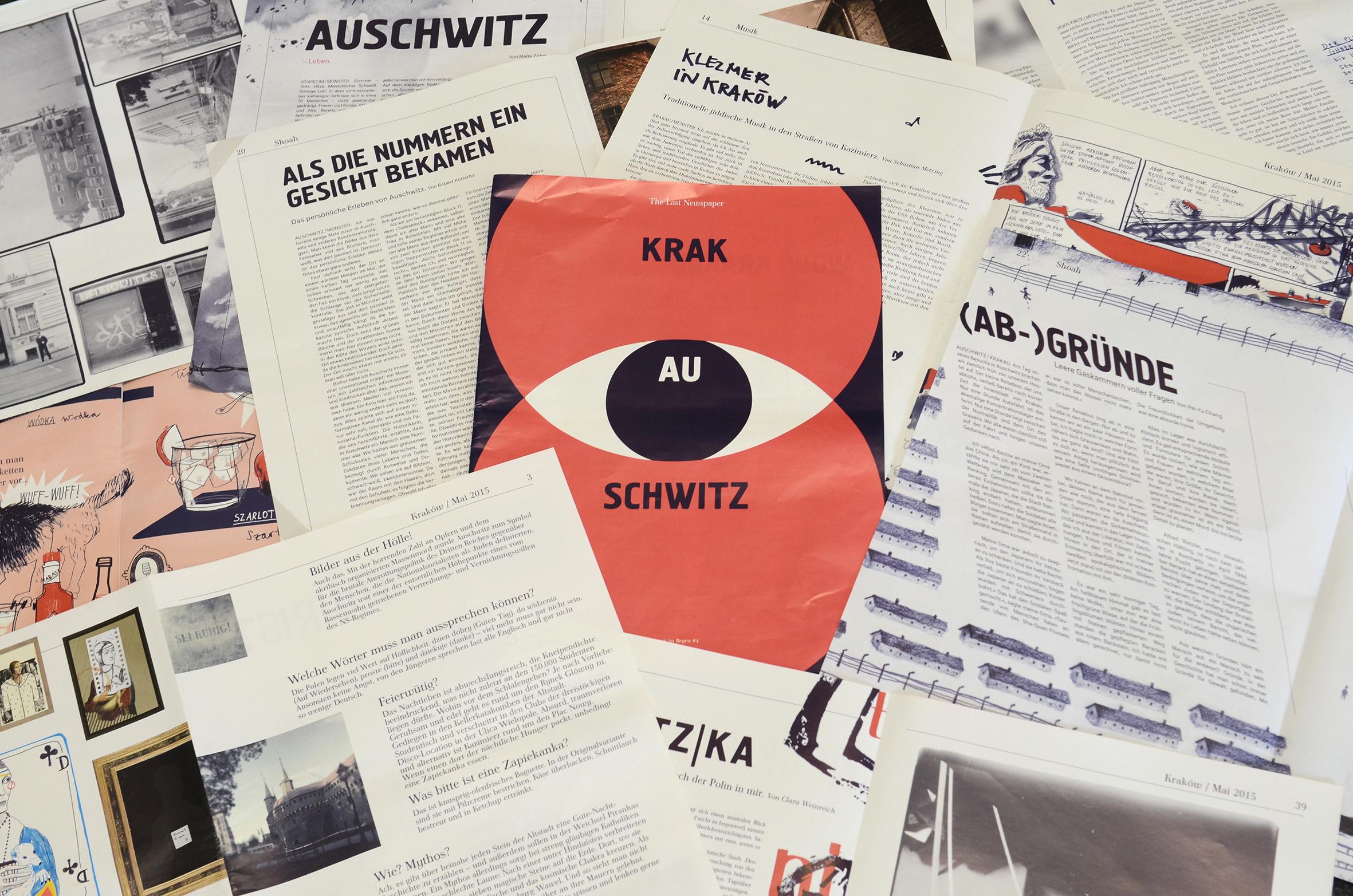 """Seiten aus der Zeitung """"KrakAUschwitz"""""""
