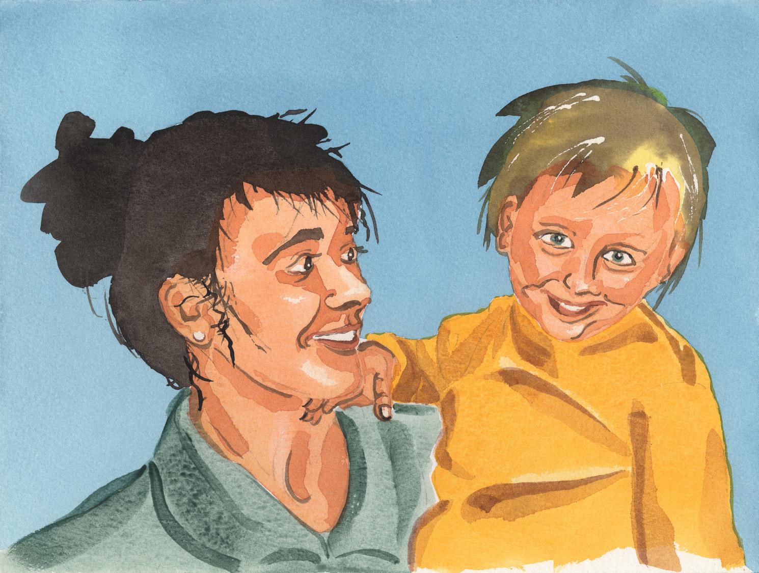 Aquarell Mutter mit Kind von Prof. Dr. Joachim Gardemann
