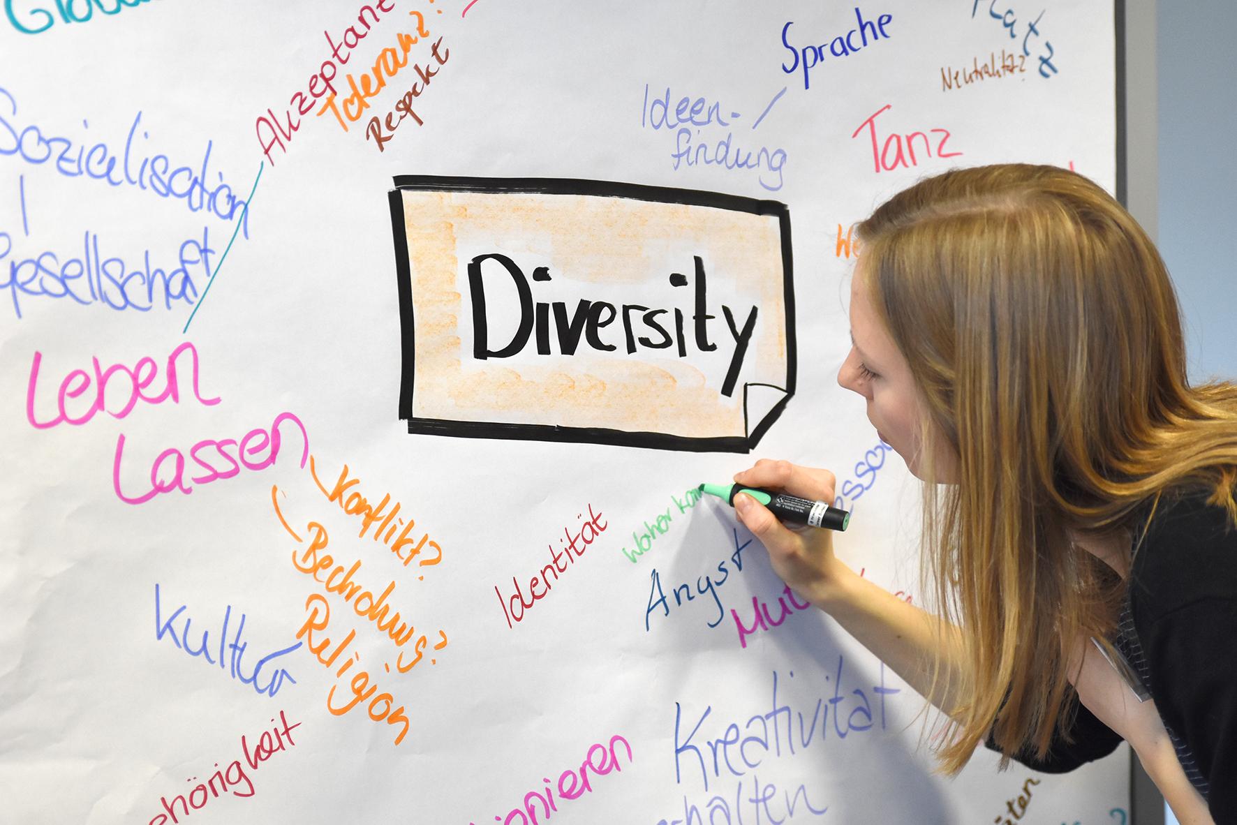 Kursteilnehmerin schreibt etwas an die Flipchart; dort stehen diverse Stichpunkte rund um Diversity.