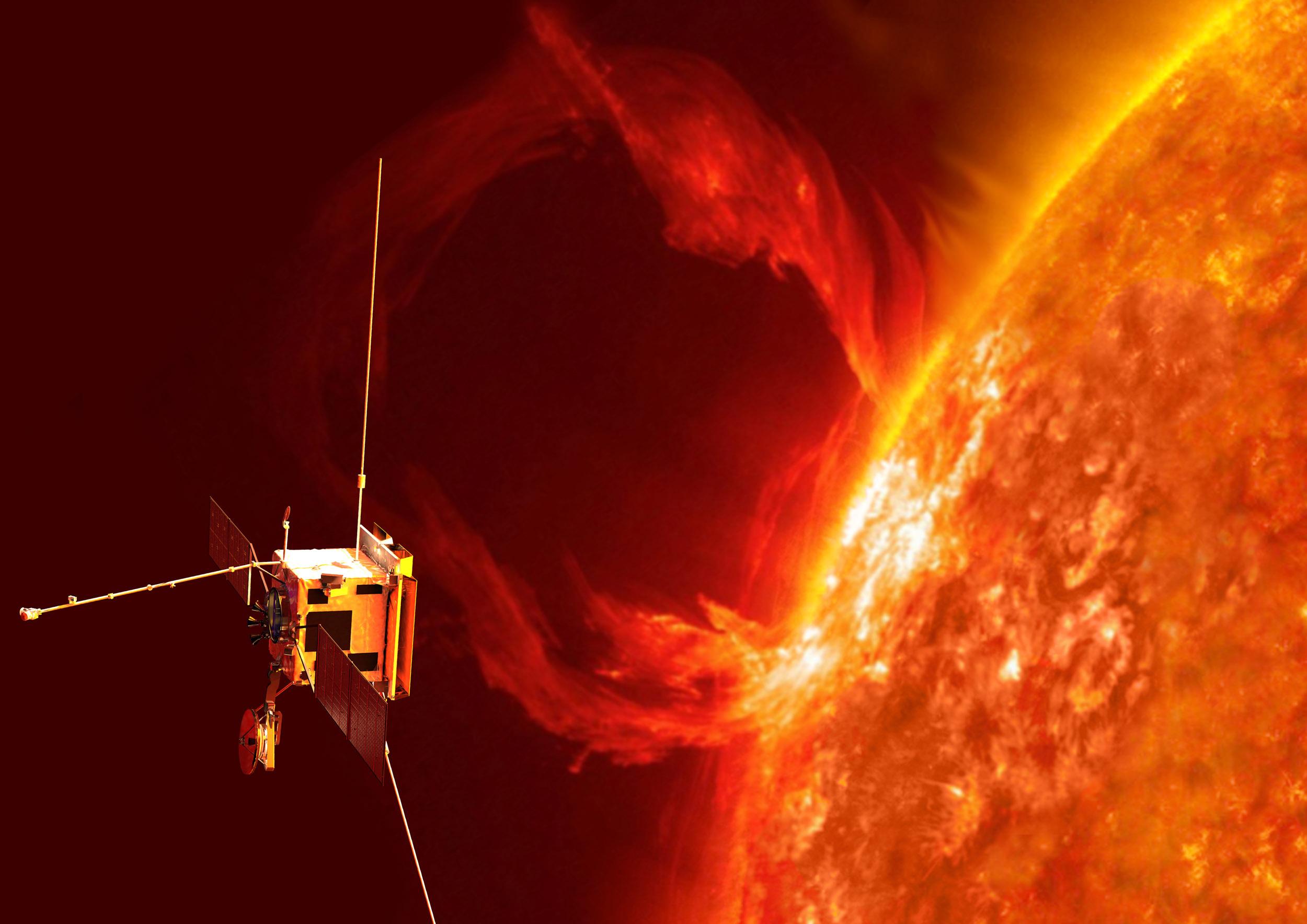Weltraumsonde Solar Orbiter neben der Sonne