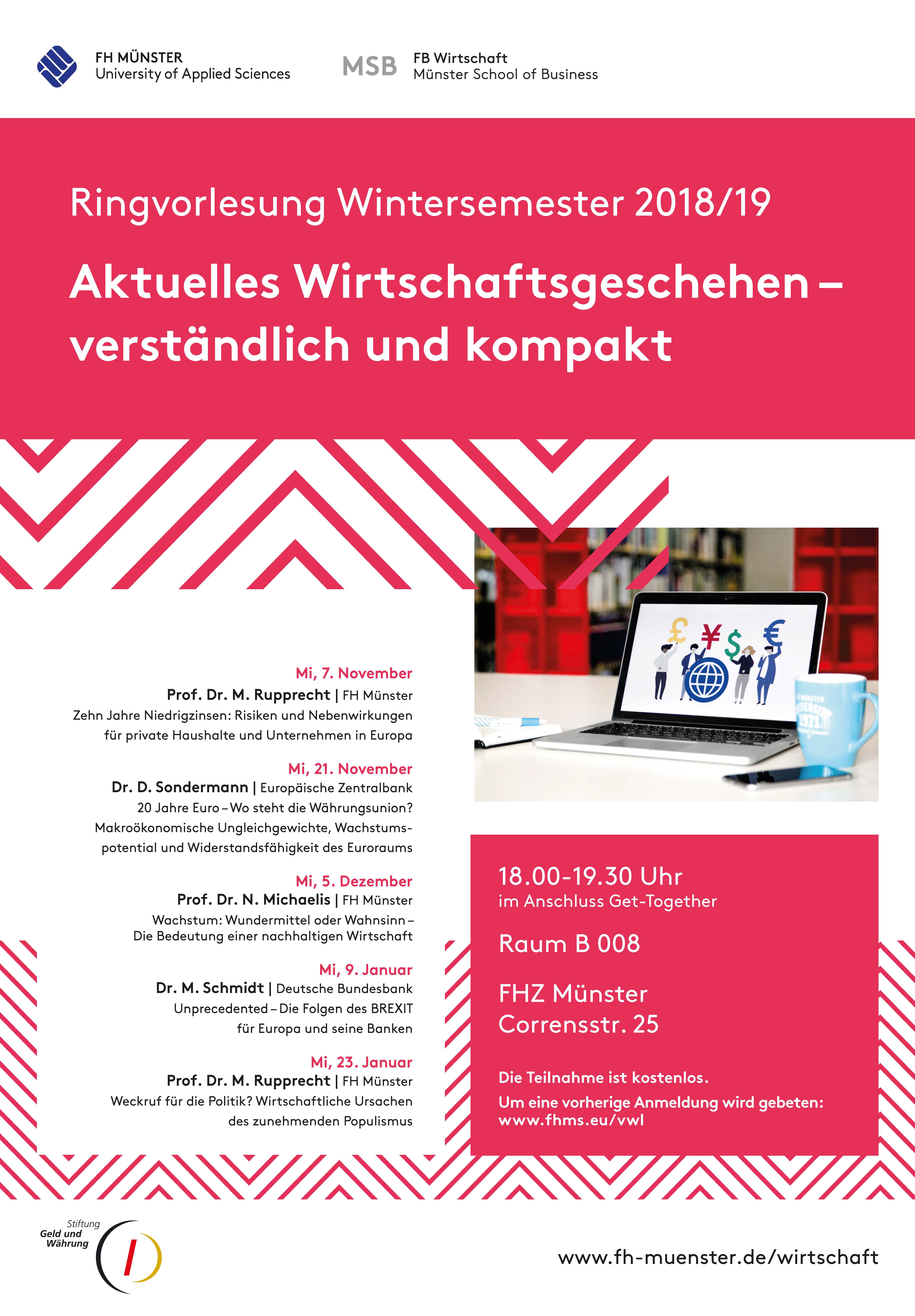 """Plakat zur Ringvorlesung """"Aktuelles Wirtschaftsgeschehen - verständlich und kompakt"""""""