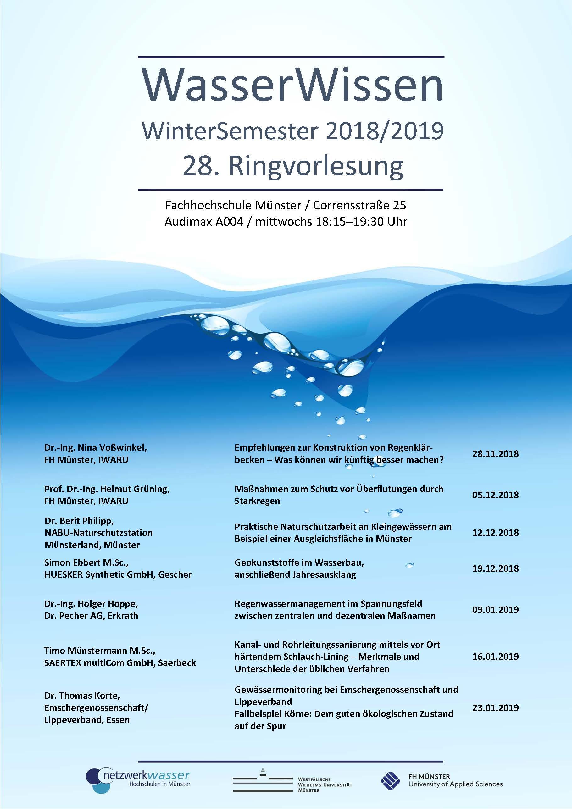 Plakat der Ringvorlesung WasserWissen