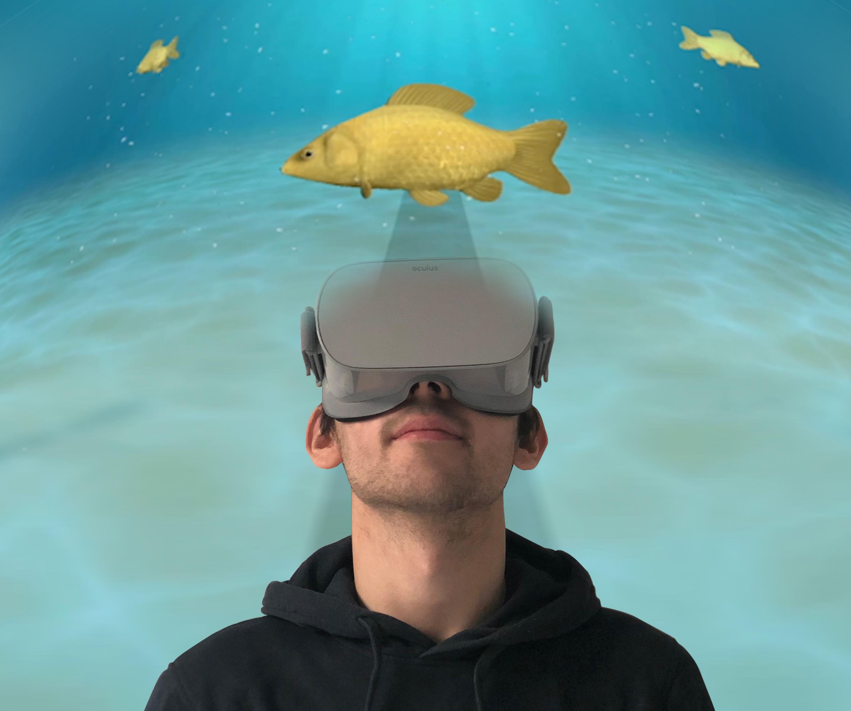 VR-Anwendung, Student schaut mit VR-Brille auf einen Fisch, der im Ozean schwimmt