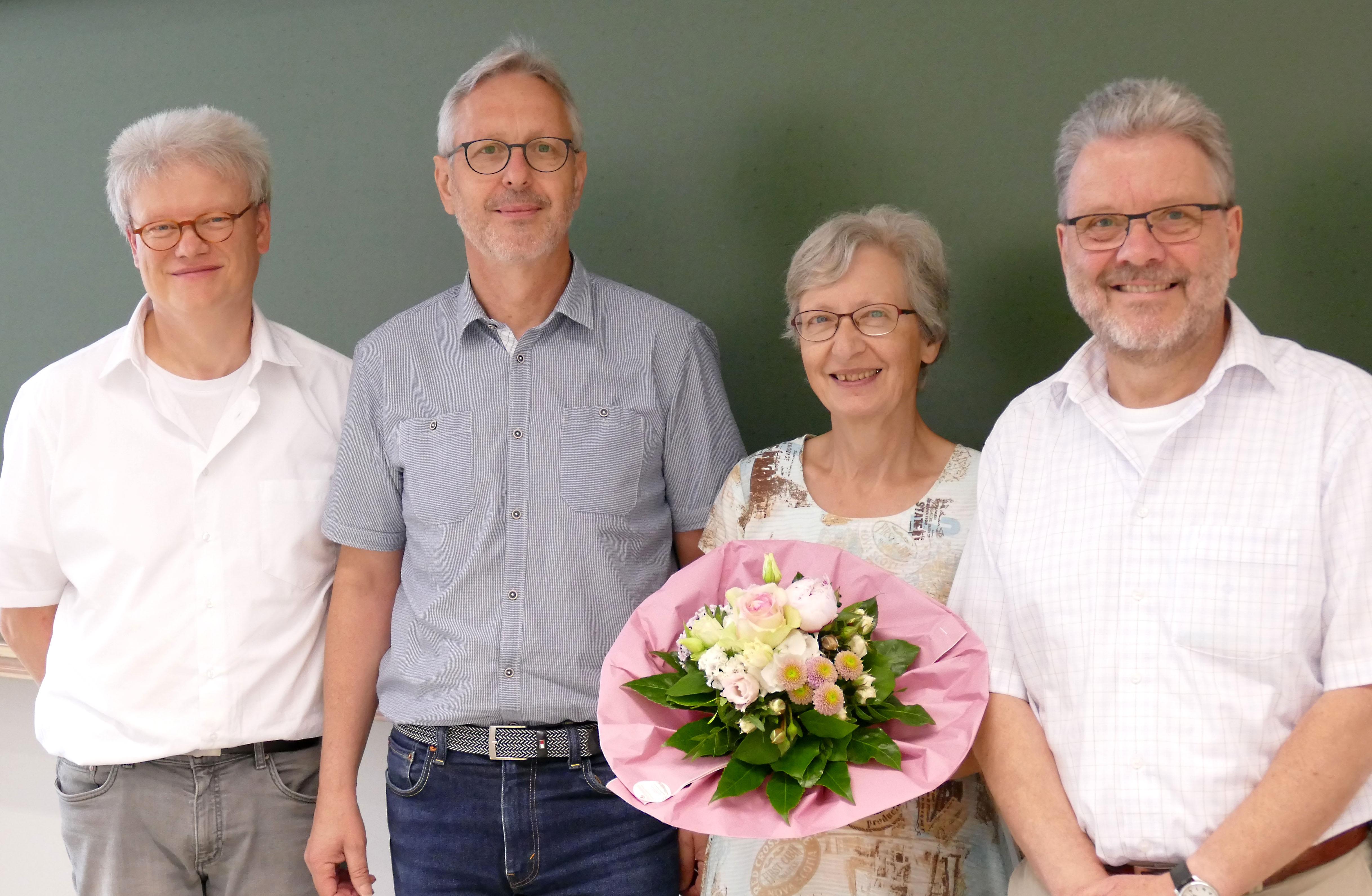 Dekan Prof. Dr. Reinhart Job, Prof. Dr. Hans Effinger, Prof. Dr. Laurenz Göllmann und Dorothee Eylert