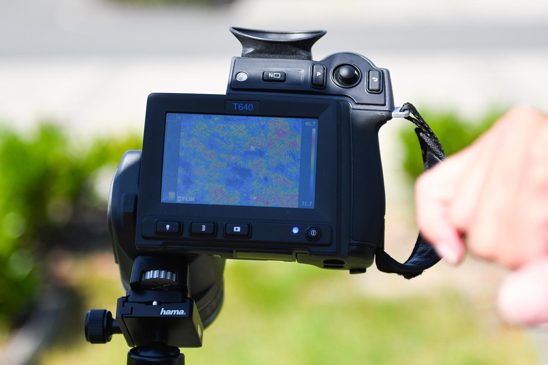 Nahaufnahme Bildschirm der Wärmebildinfrarotkamera