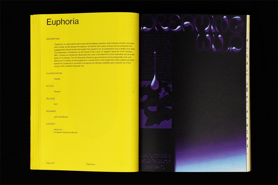 Doppelseite mit Text und Kunst