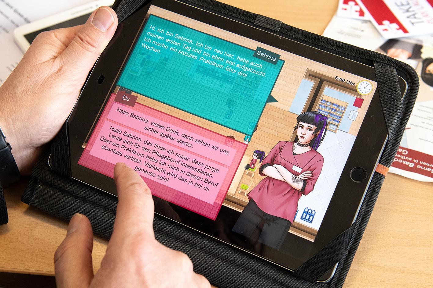 Spiel läuft auf einem Tablet