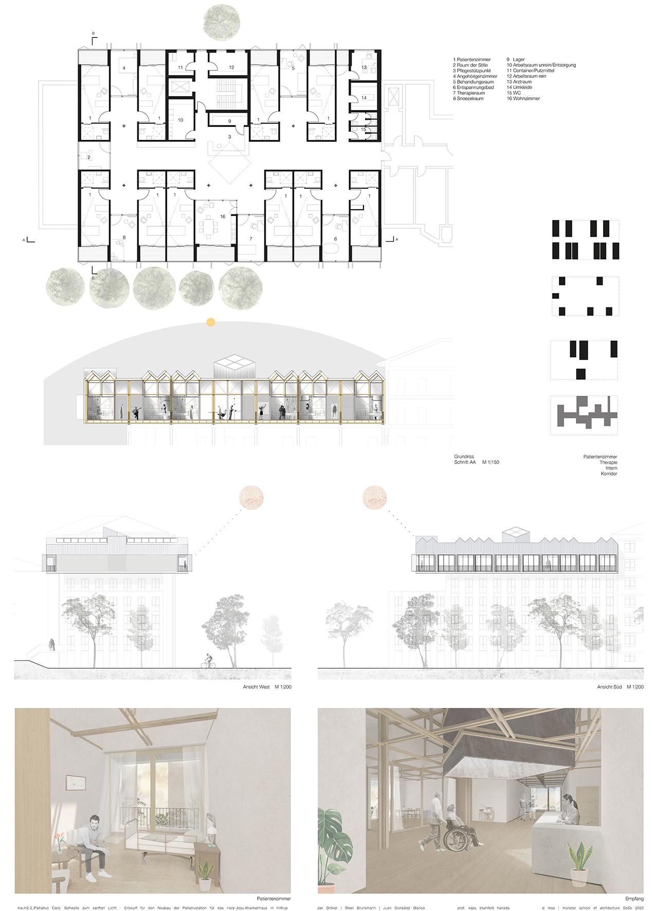 Wichtig war dem Team, eine häusliche Raumatmosphäre zu schaffen. Die reflektierende Außenfassade harmoniert respektvoll mit der Umgebung. (Grafik: FH Münster/Shari Brunsmann, Jan Bröker, Juan González Blanco)