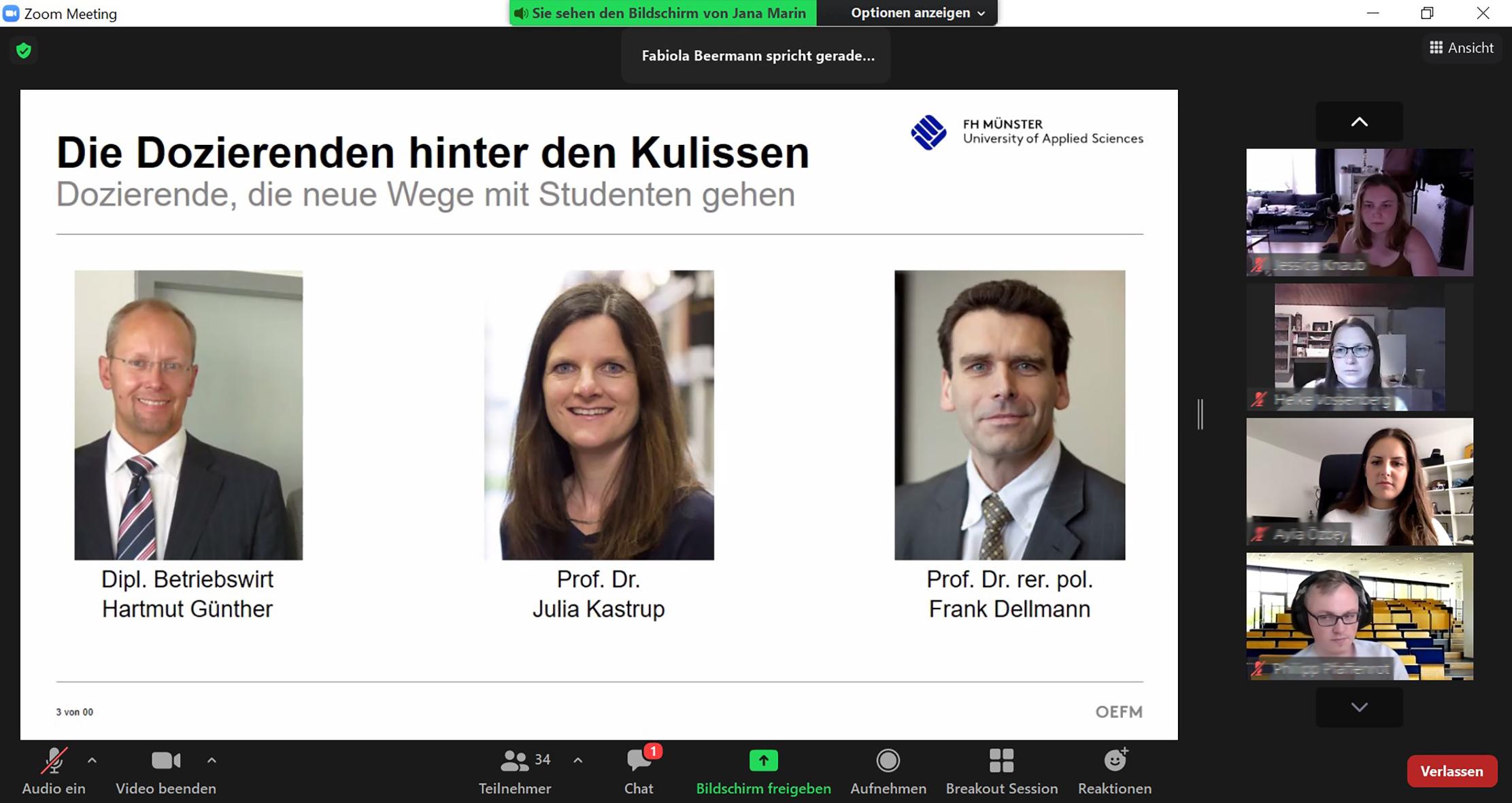 Screenshot von Begrüßungsfolie mit den drei Lehrenden Hartmut Günther. Prof. Dr. Julia Kastrup und Prof. Dr. Frank Dellmann sowie vier Studierenden