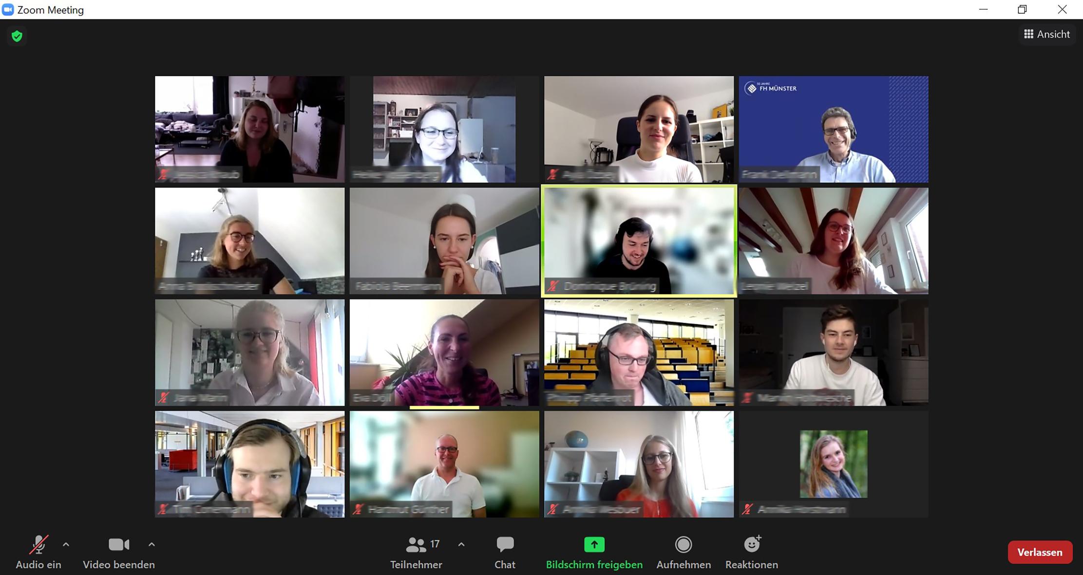 Screenshot von der Nachbesprechung des Online-Workshops