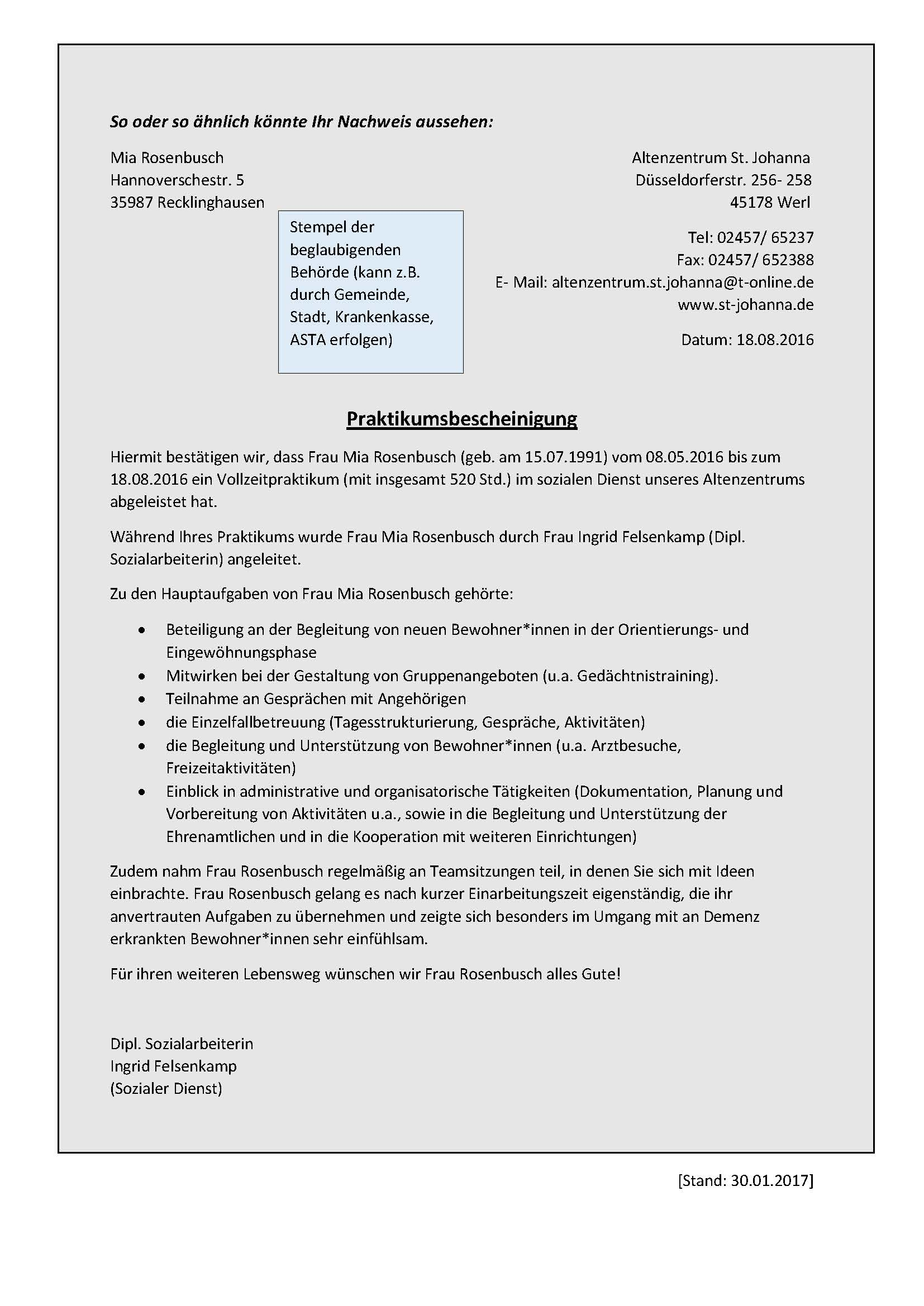 vorpraktikum bewerbung muster Fachbereich Sozialwesen   Vorpraktikum   FH Münster
